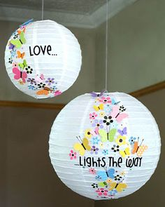 Embellished Paper Lanterns (idea source: The Scrap Farm). Find all sizes of white paper lanterns here: www. White Paper Lanterns, Diy And Crafts, Paper Crafts, Paper Glue, Tissue Paper, Craft Projects, Projects To Try, Diy Papier, Love And Light