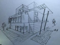 ARCHITECTURE MODERN HOUSE DESIGN (2-POINT PERSPECTIVE VIEW) - YouTube