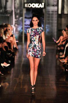 Brand ambassador Nicole Trufino works the runway in the Meander Tee Dress $240. Xx