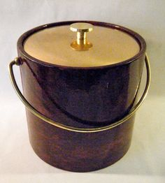 Vintage Ice Bucket, Faux Tortoise or Leather Vinyl Exterior with Brass Handle and Lid, Very Large, 1960's- 1970's, Man Cave, For the Bar