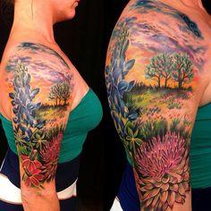 texas tattoos for women * texas tattoo ; texas tattoo for men ; texas tattoo ideas for women ; texas tattoos for women ; texas tattoo ideas for guys Texas Tattoos, New Tattoos, Tatoos, Texas Hill Country, Landscape Tattoo, Landscape Paintings, Bluebonnet Tattoo, Farm Tattoo, Scenic Tattoo