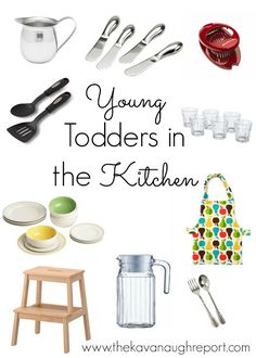 Young Montessori Toddlers in the Kitchen! Easy ways to get even young toddlers involved in the kitchen. Perfect for a Montessori home to build practical life skills.