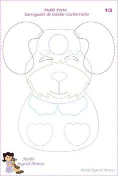 Eu Amo Artesanato: Porta carregador de celular de cachorrinho Felt Crafts Patterns, Sewing Patterns, All American Doll, Felt Phone Cases, Dog Pattern, Stuffed Animal Patterns, Dog Coats, Felt Animals, Baby Bibs