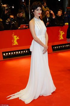 All white on the night: Audrey Tautou once again put on a sensational display as she attended the closing ceremony of the 65th Berlin International Film Festival on Saturday night