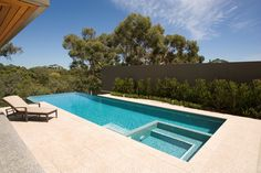 Our gallery of completed Freedom swimming pools is a great source of ideas and inspiration if you're thinking of putting in a pool at your place Swimming Pool Prices, Cool Swimming Pools, Best Swimming, Backyard Pool Designs, Pool Landscaping, Backyard Patio, Pool Pavers, Concrete Pool, Pool Spa