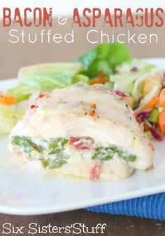 Bacon and Asparagus Stuffed Chicken _ With Mozzarella & Cream Cheese. Sick of the same old Chicken Breast? This tastes amazing! | Six Sisters' Stuff