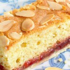 Bakewell Slices – The Happy Foodie Mary Berry has the ultimate recipe for bakewell slices. The combination of crunchy biscuit base, sweet jam and rich almond sponge is irresistible. Tray Bake Recipes, Tart Recipes, Sweet Recipes, Baking Recipes, Cookie Recipes, Dessert Recipes, Desserts, Almond Slice Recipes, Cake Recipes Bbc
