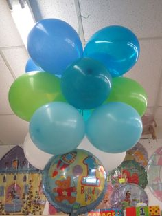 Decorations-hang air filled balloons from ceiling