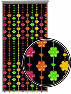 Beaded Curtain ~ Blacklight Reactive ~ Multi-Color Flower Door Beads ~ Fits Standard Door Ways by DirectGlow LLC. $17.99. glows incredibly bright under blacklight!. 10 strands that can be spaced close together or far apart. 72 inches high x 24 inches wide. This 10 strand blacklight reactive flower shaped beaded curtain makes the perfect decoration for any room. Use for doorways, windows, and dividers. They can be cut to desired length without coming apart.  Measur... Beaded Curtains, Door Curtains, Door Beads, Kitchen Window Treatments, My Daughter Birthday, Black Curtains, Kids Party Themes, Flower Shape, Doorway