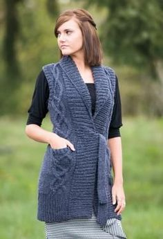 Tie Front Cabled Tunic Vest - Knitting Patterns by SweaterBabe    Made it, Love it!  #SweaterBabeKnittingGiveaway