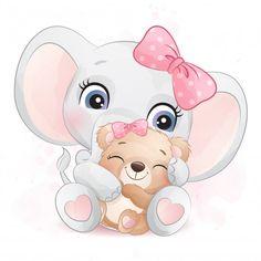 Baby Animal Drawings, Cartoon Drawings, Cute Drawings, Boat Cartoon, Cute Cartoon, Little Elephant, Cute Elephant, Indian Elephant, Cute Images
