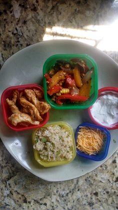 """21 Day Fix Lunch - """"Chipotle"""" Chicken Fajita Burrito Bowl   Zucchini Shrimp"""