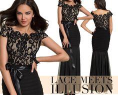 Camille La Vie Lace and Illusion Long Black Dress for Parties