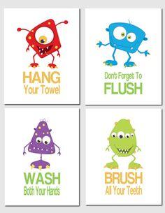 The Little Monsters Bathroom - Bathroom Art Children's Bathroom Decor Kids Bathroom by vtdesigns, $32.00