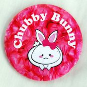 """Image of Chubby Bunny 3"""" Button. Available at www.iamchubbybunny.com"""