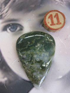 Semi Precious Stone Moss Agate Large Polished by dimestoreemporium, $15.00