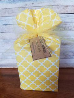 """Yellow and white reusable fabric gift bag.  14"""" tall and 10"""" wide when flat. by GreenTraditions on Etsy"""