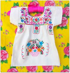 Carmelita Mexican  Handmade Embroidered  Pure Cotton Tunic Baby  Dress