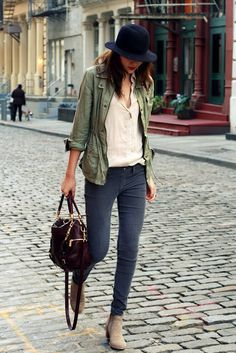 khaki jacket, simple shirt, jeans, and ankle boots