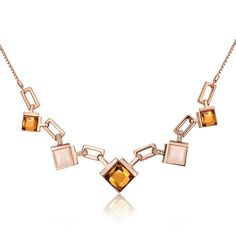 Viennois Jewelry Rose Gold Plated Square Crystal Necklace #viennoisjewelry