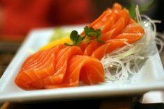 SALMON sashimi - great source of omega-3's for your heart. Your heart never takes a break and it's only right that you keep it healthy in return.
