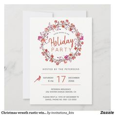 Christmas wreath rustic winter holiday party invitation