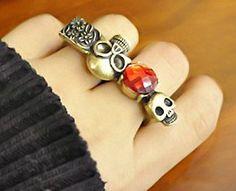 Exquisite jewelry skulls red rhinestone ring - $4.99USD