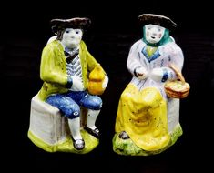 Vintage Pottery Jugs, Man And Woman Pitchers, Authorized Copies Of Century Pottery, Made In Portugal Glass Paperweights, Vintage Pottery, Blue Pants, 18th Century, Vintage Art, Mothers, My Etsy Shop, Blue And White, Hand Painted