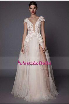 2017 vestidos de boda de la playa atractiva A-Line V-cuello palabra de longitud tul con la raja