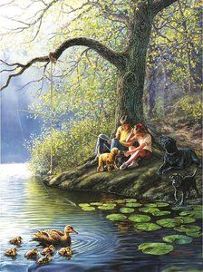 Places Remembered ~ Spring by James Meger ~ boy girl fishing ~ dogs ~ ducks Indian Art Paintings, Great Paintings, Beautiful Paintings, Landscape Paintings, Original Paintings, Nature Pictures, Beautiful Pictures, Fishing Pictures, Gone Fishing