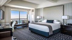 Manchester Grand Hyatt San Diego: Newly renovated rooms feel slick and polished with geometric rugs and headboards.