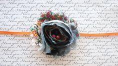 Black Floral Paisley Shabby Chiffon Newborn Headband by CappyClips