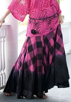 Plaid Ombre Print Skirt by Denim 247 from Roamans for curvy women1