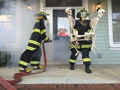 Baxter Skeletons - The Skeletons are Rescued! Thanks Firefighters for all that you do to keep us Safe! Diy Halloween, Halloween Outside, Halloween Yard Decorations, Outdoor Halloween, Halloween Party Decor, Halloween House, Halloween 2018, Holidays Halloween, Skeleton Decorations
