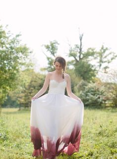 Dip dyed dress: http://www.stylemepretty.com/new-jersey-weddings/2015/08/03/rustic-romantic-wedding-inspiration-at-the-inn-at-fernbrook-farms/ | Photography: Jessica Cooper - http://www.jessicacooperphotography.com/