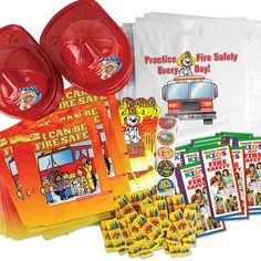 Fire Safe Kids Open House Kit-VP-4713  Fire safe kids open house kit. Kit includes: 100 I Can Be Fire Safe Parent-Child Learning Activities Books, 100 Patriotic Junior Firefighter Hats, 100 Do Your Part, Be Fire Smart! Die-Cut Bookmarks, 100 Firefighters Are My Friends Non-Toxic Crayons, 200 Be Fire Safe Stickers On A Roll, 100 Teach Your Kids About Fire Safety Brochures, 100 Free Practice Fire Safety Every Day! Carryall Bags With Safety Tips on Back, 800 items in all.   (800) 728-7192
