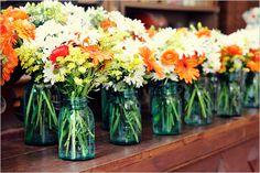 mason jar flowers--orange gerber daisies
