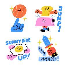 Juan Molinet on Behance Art And Illustration, Illustration Design Graphique, Illustrations And Posters, Character Illustration, Graphisches Design, Snapchat Stickers, Graphic Design Inspiration, Kids Graphic Design, Sticker Design