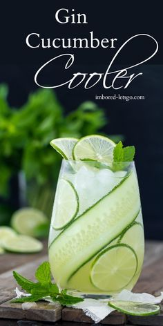 A delicious summer time cocktail that's light and refreshing. This Gin Cucum… A delicious summer time cocktail that's light and refreshing. This Gin Cucumber Cooler can be made with mint or basil for a tasty variation. Limoncello Cocktails, Refreshing Drinks, Summer Drinks, Receita Mini Pizza, Le Gin, Bebidas Detox, Fancy Drinks, Cocktail Drinks, Cucumber Gin Cocktail