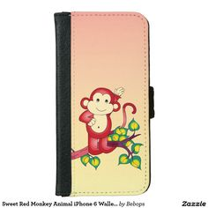 Sweet #RedMonkey Animal iPhone 6 Wallet Case @bebopsplace