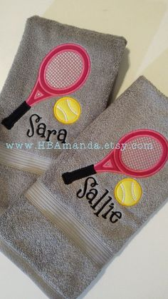 Tennis Doubles Partners Towels Set of 2  Team Captains by HBAmanda