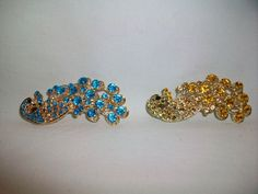 2 HAIR CLIPS CRYSTAL PEACOCK Rhinestones Gold Tone NEW