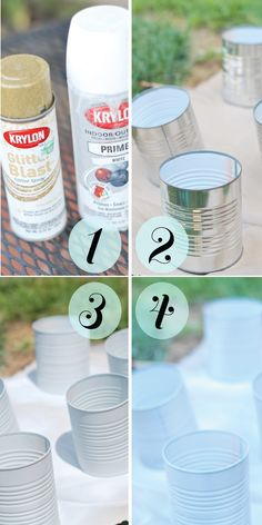 easy DIY with glitter spray paint and tin cans