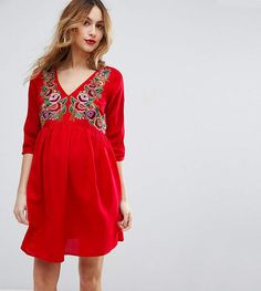 bc0e8cacc0e Asos Maternity Petite Dress With Embroidery Petite Maternity Dresses