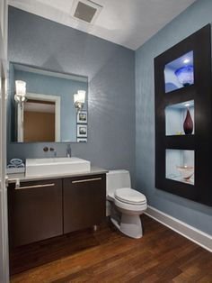 love that basin, and also i love the combo of powdery blue, white and dark espresso-colored wood