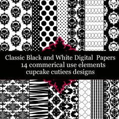 Classic Black and White  Papers.  These are beautiful!!  Great for invitations, cards, and paper goods. Great scrapbooking papers!
