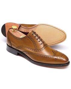 Tan Ashton calf leather wing tip brogue Oxford shoes
