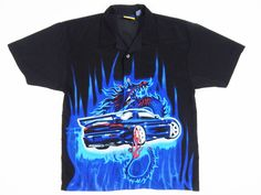 90s 3D dragon race car flame graphic Button Down Rave / Club Kid / Vaporwave / Seapunk / Cyber goth by GLITTERSTREET on Etsy