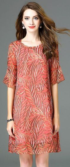 Chic O-Neck Flare Sleeve Print Dress