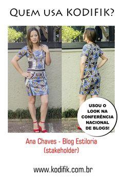 Blog Estiloria e Kodifik ótima parceria! Linda de vestido com print estilo azulejo português! Azul provençal..